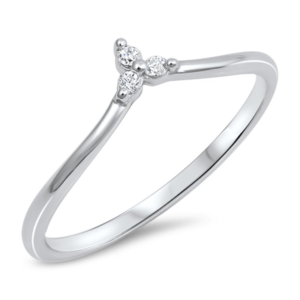 Round White CZ Pointed Chevron Flower Ring .925 Sterling Silver Band Sizes 4-10 Sac Silver