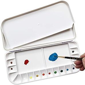 18-Wells Watercolor Paint Palette,Premium Moisturizing foldable Travel Portable Folding Paint Palette Box (BLUE, 18-WELLS)