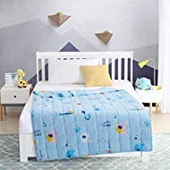 EXQ Home Weighted Blanket 5 lbs for Kids Blue Elephant Heavy Blanket Super Soft Thick Blanket with Premium Glass Beads, Organic Cotton