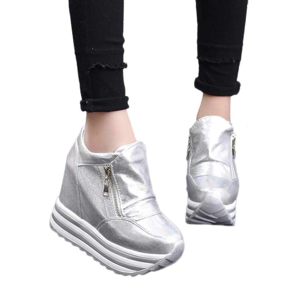 Hot Women's Wedge Sneakers!Claystyle Leisure Ladies Sport Round-Toe Non-Slip Thick Bottom Zipper Casual Shoes Sneakers(Silver,US: 7)