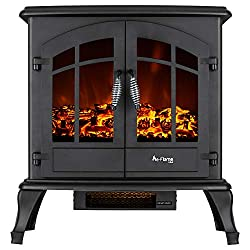 Jasper Free Standing Electric Fireplace Stove - 25 Inch Portable Electric Vintage Fireplace with Realistic Fire and Logs. Adjustable 1500W 400 Square Feet Space Heater Fan from e-Flame USA