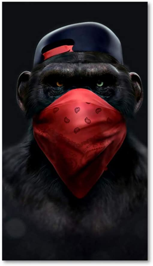 x3 sans Cadre ZMFBHFBH Impression sur Toile Cool Black Monkey Modern Wall Art Affiches Nordiques et Impressions Simples Photos murales pour Le d/écor de Salon 20x40cm 7.8x15.7