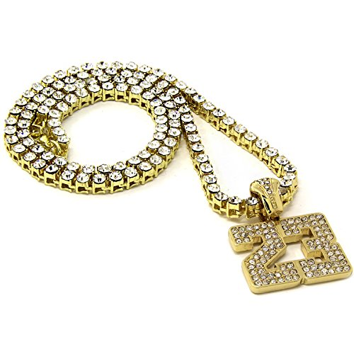 Mens 23 Jewels - Men's Gold Plated Number #23 Pendant 20 24 30