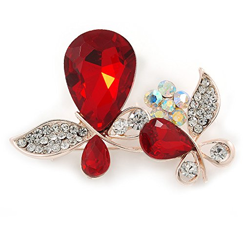 Avalaya Clear Crystal, Ruby Red Glass Stone Double Butterfly Brooch in Gold Plating - 50mm Across
