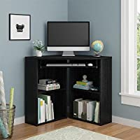 Altra Black Contemporary Modern Transitional Caleb Laminated Corner Desk
