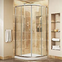 DreamLine Prime Frameless Sliding Shower Enclosure and SlimLine 33-Inch by 33-Inch Quarter Round Shower Base, DL-6701-01CL, Chrome Finish