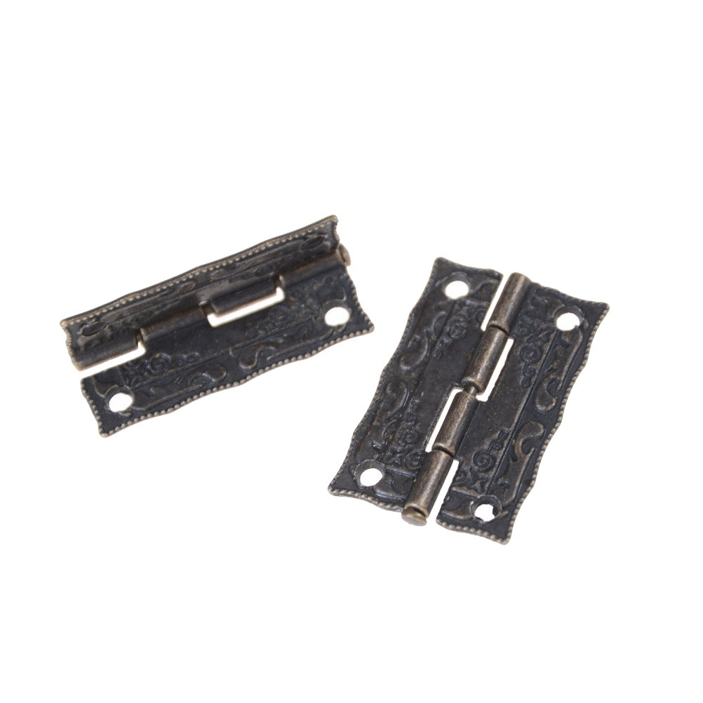 NIDIBI 2Pcs Antique Bronze Cabinet Hinges Furniture Accessories Door Hinges Drawer Jewellery Box Hinges NEW
