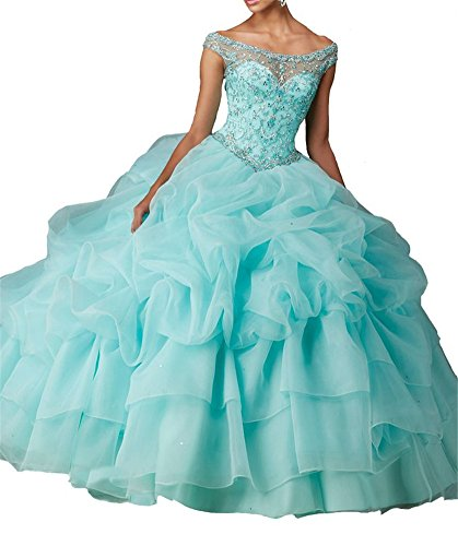 Junguan Women's Jeweled Beaded Satin Sweet 16 Gown Quinceanera Dresses by Junguan