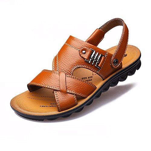 Uomini sandali Uomini estate vera pelle Doppio uso Spiaggia scarpa gioventù Spessore inferiore Antiscivolo traspirante Tempo libero Uomini scarpa ,gialloA,US=9,UK=8.5,EU=42 2/3,CN=44