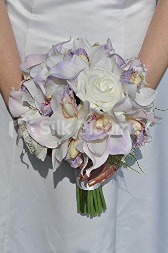 Bouquet Sposa Lilla E Bianco.Silk Blooms Ltd Splendido Lilla Orchidea Calla Giglio Bianco E
