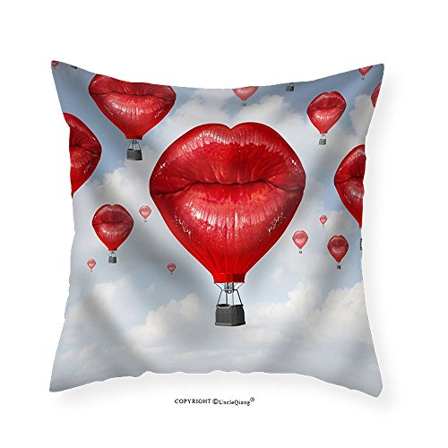 VROSELV Custom Cotton Linen Pillowcase Love Balloons as a Hot Air Balloon Made of Human Red Lips Soaring Up to the Blue Sky - Fabric Home Decor (Soaring Hot Air Balloon)