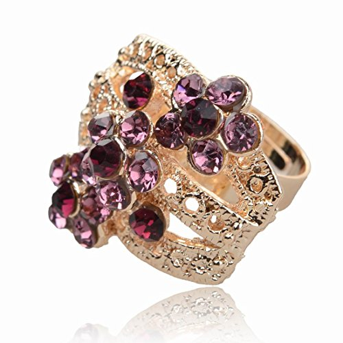 Purple Gold Plated Adjustable Rhinestone Cocktail Finger Ring
