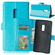 OnePlus 2 Case,Gift_Source [Blue] [Wallet Function] [Stand Feature] Magnetic Snap Case Wallet Case Flip Case Cover with Built-in Card Slots for OnePlus2/ OnePlus TWO