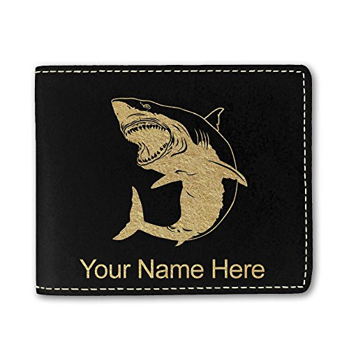 Faux Leather Wallet, Great White Shark, Personalized Engraving Included (Black) (Shark Wallets For Men)