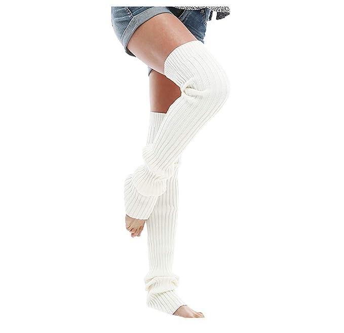 Boomly Calcetín Alto Largos Calentador Pierna Calcetines Sobre La Rodilla Mujer Calcetines Rodilla De Algodon De