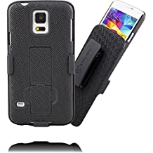 Samsung Galaxy S5 Belt Clip Case : Stalion Secure Holster Shell & Kickstand Combo (Jet Black) 180° Degree Rotating Locking Belt Swivel + Shockproof Protection (Not for S5 Active)