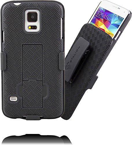 Galaxy S5 Holster: Stalion Secure Shell Case & Belt Clip Combo with Kickstand (Jet Black) 180° Degree Rotating Locking Swivel + Shockproof Protection