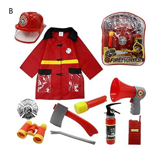 Kids Role Cosplay Cloth,Fireman Career Dress up Costume Set for Girls Boys Chrismas Halloween Performance Tools (B-2) ()