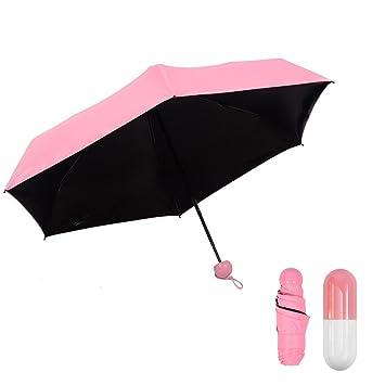 Dimo ultraligero Mini Cápsula paraguas, paraguas de viaje bolsillo plegable (5, de sol