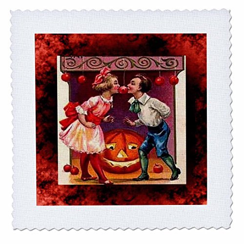 3dRose qs_6201_1 Vintage Halloween Children Bobbing for Apples Quilt Square, 10 by 10-Inch - Halloween Bobbing For Apples