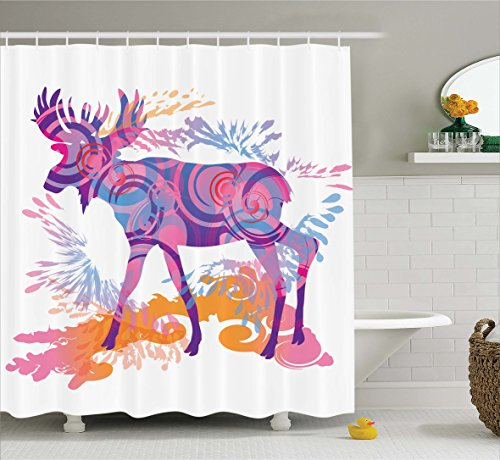 Moose Decor Shower Curtain by Ambesonne, Unusual Deer Figure with Trippy Featured Color Effects Digital Vivid Display, Fabric Bathroom Decor Set with Hooks, 70 Inches, Mauve Orange