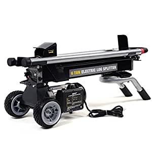 Cypressshop Portable Electric Hydraulic Log Splitter 1500W 6 Ton RAM Force Wood Logs Cutter Powerful Easy Powerful Wood Burning Stove Fireplace Patio Yard Garden Outdoor Living