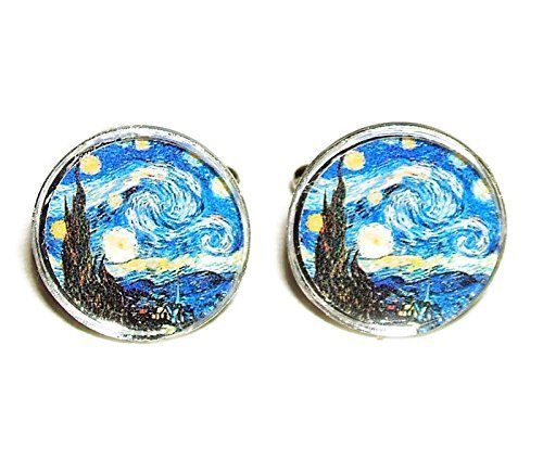 STARRY NIGHT CUFFLINKS SILVER PLATED CUFF LINKS Van Gogh Art GLASS CABOCHON