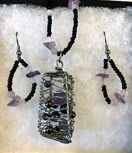 Amethyst and Hematite Necklace & Earring Set