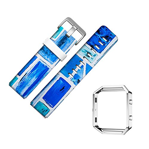 For Fitbit Blaze Accessory Band for Women Men, Frame Housing+Genuine Leather Art Pattern Replacement Strap for Fitbit Versa Fitness Wristband-214.fabric pattern cotton silk color textile painted