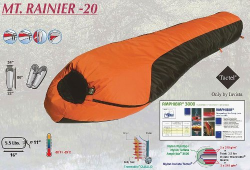 -20 MT. RANIER MUMMY BAG, WATERPROOF AND WINDPROOF By High Peak, Outdoor Stuffs