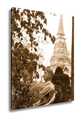 Ashley Canvas Buddha Statue In Wat Umong Chiang Mai Travel Thai Temple In Northern Thailand, Wall Art Home Decor, Ready to Hang, Sepia, 20x16, AG5262409 by Ashley Canvas