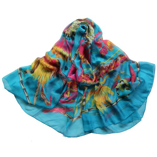 Tribal Indian Feathered/Feather headdress Crown Pattern Sheer Square Scarf Blue (Feathered Headdress)