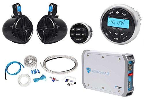 2 Ch 300w Amp (Rockville RGHR2 Marine Bluetooth Receiver+Remote+8