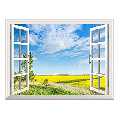 Pretty Design, Removable Wall Sticker Wall Mural Beautiful Yellow Rapeseed Field in Spring Creative Window View Wall Decor, Premium Creation