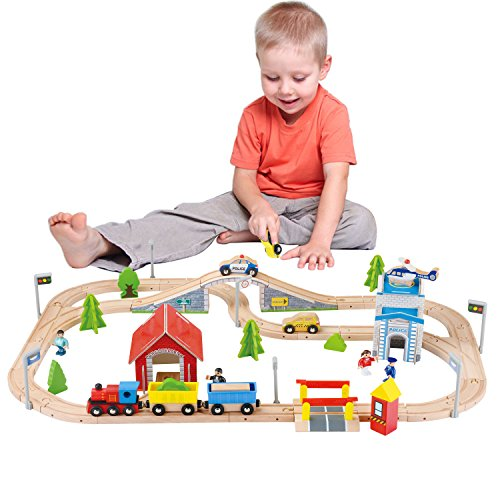 WOOKA 80Pcs Wooden Train Set / Deluxe Dollhouse Accessories / Train Track Fits Brio, Thomas, Chuggington, Toy Train Set for Kids Age 3 and Up