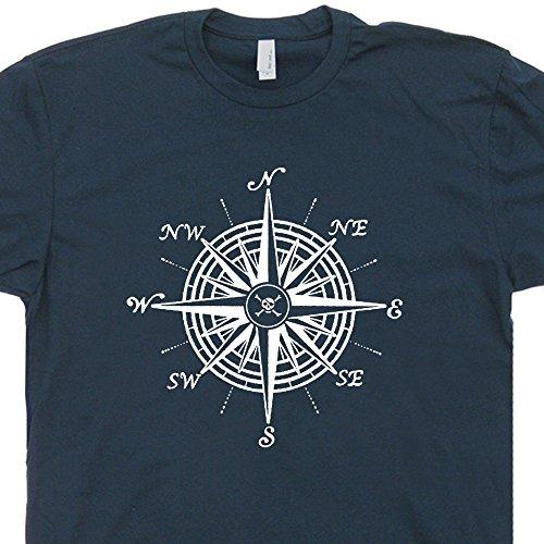 XL - Nautical Compass T Shirt Sailing Sailboat Tee Shirts Pirate Jolly Roger Flag Symbols Anchor Steering Wheel