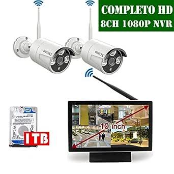 【2020 Nuevo】 Sistema de Cámara CCTV Inalámbrica, Cámara de Seguridad Interior/Exterior, IP Cámaras de Visión Nocturna, 1080P NVR 2 1080P IP Cámara con Pantalla de 10 Pulgadas por OOSSXX con 1TB HDD
