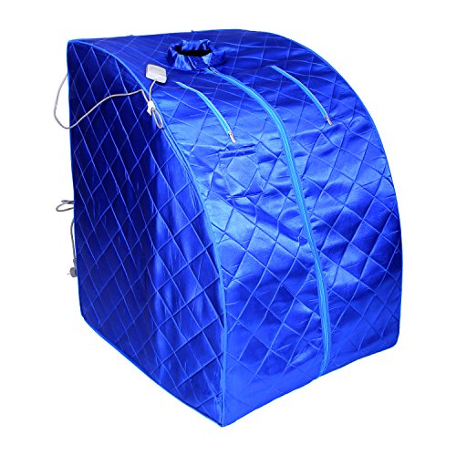 ALEKO PIN15BL Personal Folding Portable Home Infrared Sauna w/ Folding Chair and Foot Pad, Blue by ALEKO