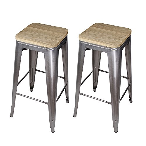 GIA 30-Inch Backless Bar Height Stool with Wooden Seat, Gunmetal/Light Wood, 2-Pack