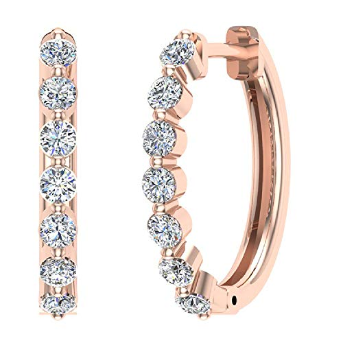 0.77 ct tw I I1 Pave Set Oval Dangle Diamond Earrings 14K Rose -