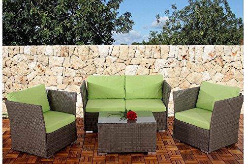 Sofa-Garnitur grau Kissen hellgrün Polyrattan Garten Outdoor Terrasse Lounge