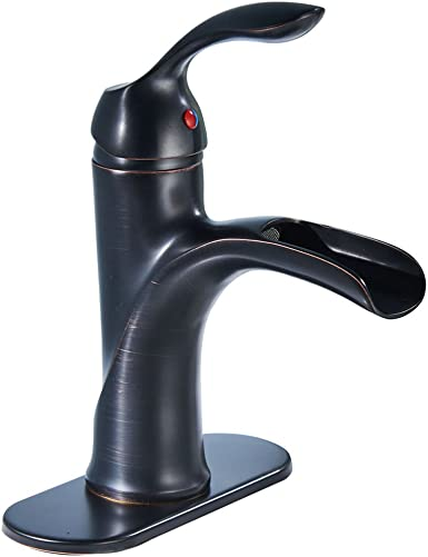 BWE Waterfall Single Handle One Hole Commercial Bathroom Sink Faucet Oil Rubbed Bronze Brass Deck Mount Lavatory