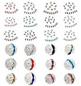 jennysun2010 Czech Crystal Rhinestones Shamballa Pave Diamante Round Metal Ball Spacer Beads 6mm 8mm 10mm Silver Gold Gunmetal Plated over Copper 100pcs per Bag for Bracelet Necklace Earrings Jewelry Making Crafts Design