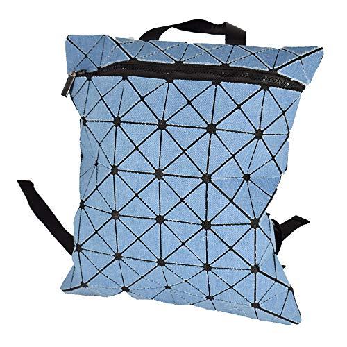KAISIBO Fashion Geometric Backpack Lattice Holographic Reflective Backpacks for women (Denim Blue)