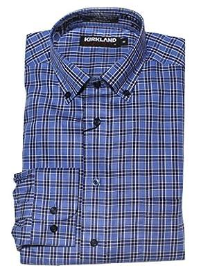 Kirkland Signature Men's Long Sleeve, Non-iron Tailored Fit Twill Sport Shirt, Blue Plaid, Medium