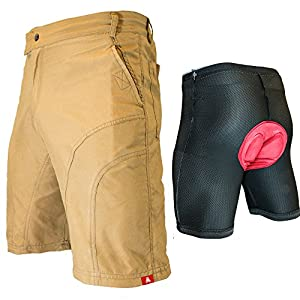 "THE PUB CRAWLER - Men's Loose-Fit Bike Shorts for Commuter Cycling or Mountain Biking, with Secure Pockets (2XL 37-39"", Khaki - With Premium Antibacterial G-tex Padded Undershorts)"