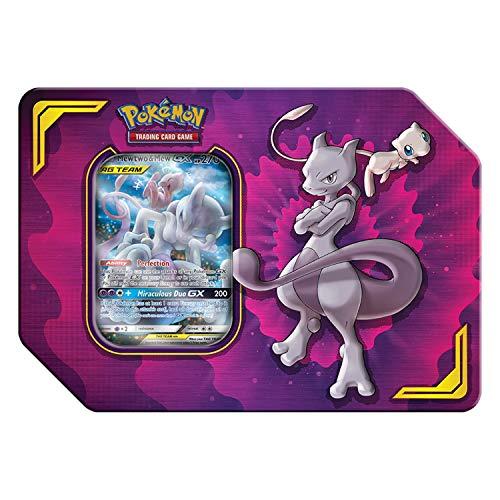 Pokemon TCG: Tag Team Mewtwo & Mew Tin | 4 Booster Pack | 1 Metal Tag Team Gx Marker | 1 of 3 Foil Tag Team Pokemon-GX