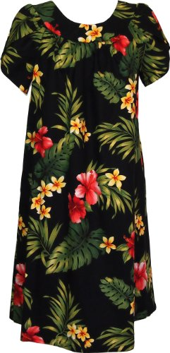 RJC Women's Tropical Summer Hibiscus Muumuu Dress, Black, S