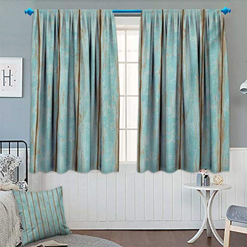 Chaneyhouse Wood Print Window Curtain Fabric Old Fashioned Weathered Rustic Planks Summer Cottage Beach Coastal Theme Drapes for Living Room 55