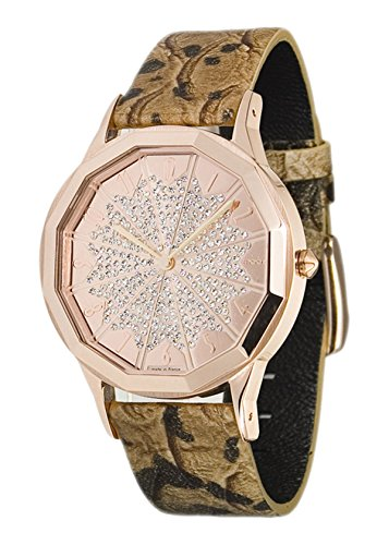 Moog Paris Roulette Women's Watch with Rose Gold Dial, Brown Genuine Leather Strap & Swarovski Elements - M44902-006